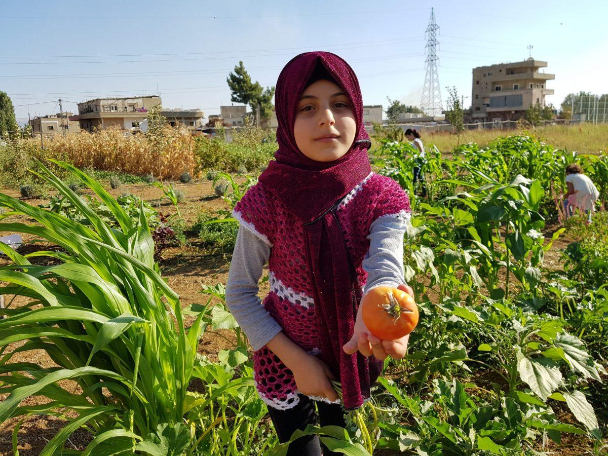 Syriske børn i Libanon finder frirum i en skolehave